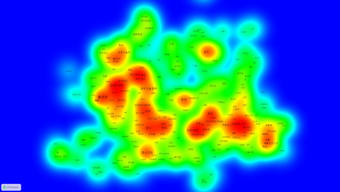 진보진영이 과거 선거기간 발표했던 과학기술 관련 공약을 분석해 그린 키워드맵 - KISTI 미래정보연구센터 제공