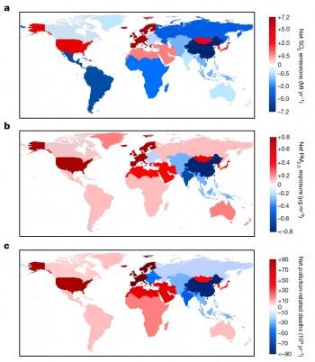 미세먼지 발생 지역(a), 미세먼지 노출 정도(b), 미세먼지로 인한 사망자 수(c)를 나타낸 지도. 빨간색에 가까울 수록 심각한 상황으로 미세 먼지 배출국과 영향을 많이 받는 국가가 일치하지 않는다는 것을 볼 수 있다. - 네이처 제공