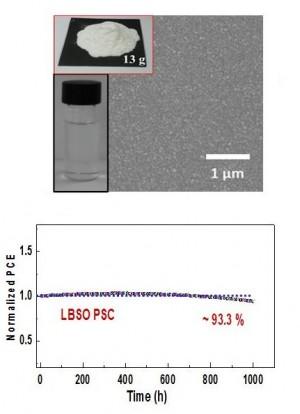 연구진은 나노 입자의 형태로 만든 LBSO를 코팅해 전극을 제조했다(위). 이 전극은 1000시간 동안 태양빛에 노출돼도 효율 저하가 거의 없다(아래). - (주)동아사이언스 제공