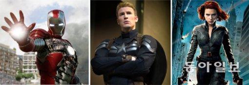 할리우드 영화 '어벤저스'의 히어로들. 아이언맨(왼쪽)은 웨어러블 로봇을 입고 활약하는 반면 캡틴 아메리카(가운데)는 약물의 힘을 빌려 초인적 힘을 얻었다. 블랙 위도(오른쪽)는 고도의 훈련을 거쳐 인간 이상의 힘을 발휘한다. - 동아일 제공
