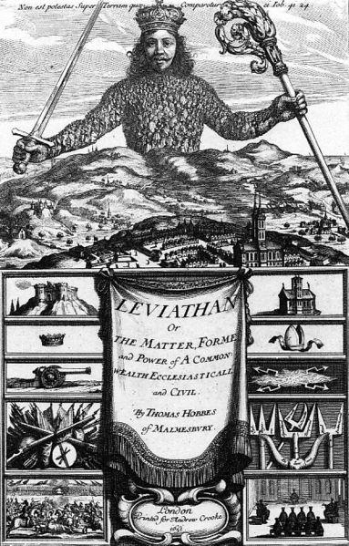 토마스 홉스(1651), '리바이어던' 표지. 리바이어던은 바다 괴물인데, 홉스는 이기적인 인간의 끝없는 갈등을 통제하는 선량한 정부 혹은 국가의 상징으로 리바이어던을 이용했다. - wikimedia 제공