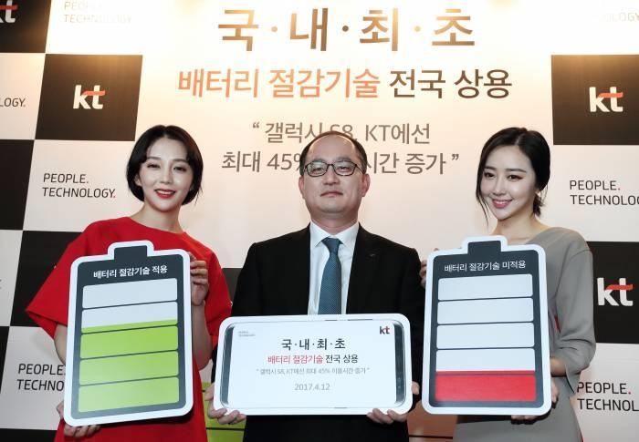 강국현 KT 마케팅부문장이 모델들과 함께 '배터리 절감 기술'을 소개하고 있다. - KT 제공