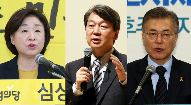 왼쪽부터 심상정, 안철수, 문재인 대선후보. - 동아일보DB 제공