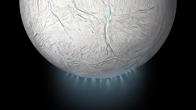 카시니는 2015년 토성의 달(위성) '엔켈라두스' 남극의 심해에서 솟아오르는 것으로 추정되는 물기둥을 관측했다. 분석 결과 물 다음으로 가장 많은 비중을 차지한 것은 수소로, 연구진은 풍부한 수소가 지구에서처럼 심해 열수구에서 비롯됐을 것으로 봤다. - 미국항공우주국(NASA) 제공