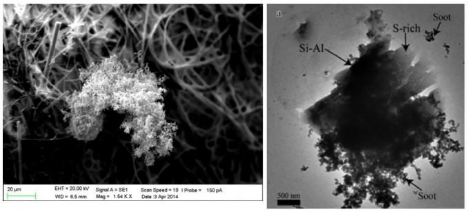 안전성평가연구소가 인공으로 생성한 미세먼지(왼쪽)와 대기 중에서 포집된 미세먼지(오른쪽). - 안전성평가연구소 제공