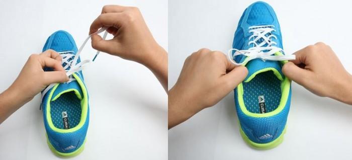 그런데 왼쪽끈으로 고리를 만든 다음, 오른쪽 끈을 앞에서 뒤로 감아 매듭을 지으면 더욱 단단한 매듭을 만들 수 있다(왼쪽). 실제로 1)번과 같은 방법으로 신발을 양쪽으로 살짝 당겨보면, 이 경우에는 매듭이 신발이 놓인 방향과 90˚를 이루는 것을 확인할 수 있다. 이는 비교적 강한 매듭에 속한다. - 염지현 제공