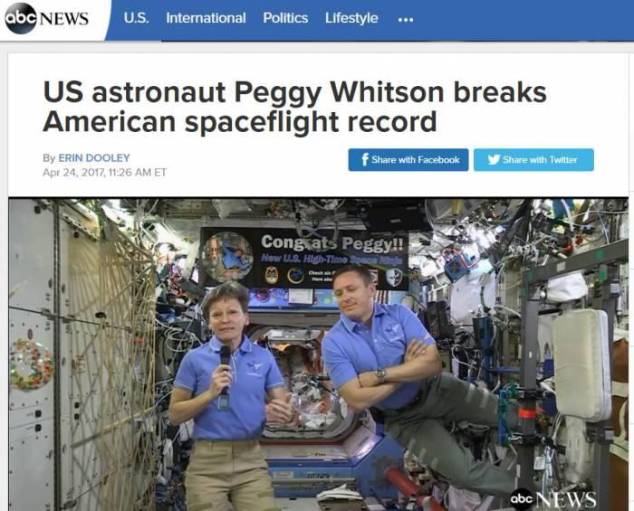 25일(한국시간) ABC뉴스가 화상통화를 통해 페기 윗슨과 트럼프 대통령의 대화를 중계했다 - ABC 홈페이지 갈무리 제공