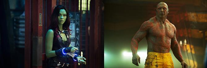 왼쪽: '가모라' / 오른쪽: '드랙스' - 월트 디즈니 컴퍼니 코리아(주) 제공