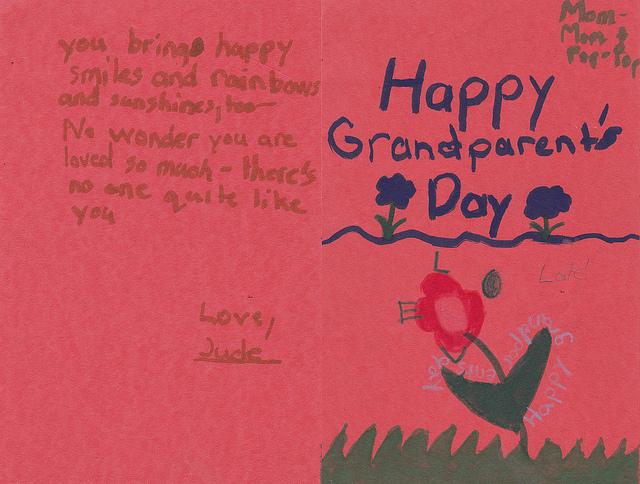 조부모의 날 손주가 할머니, 할아버지에게 보낸 카드 - J E Theriot(F) 제공