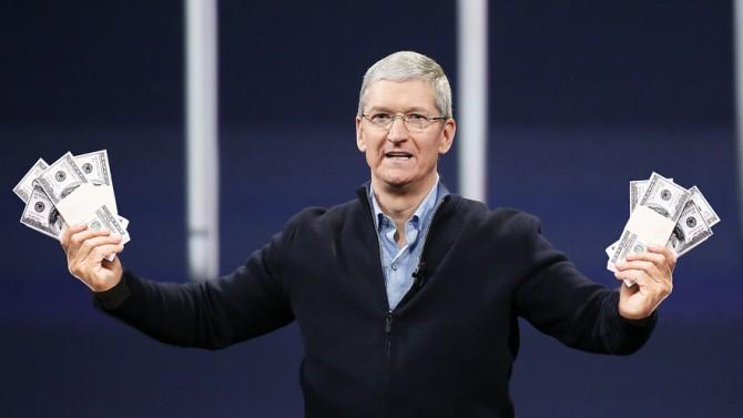 애플 CEO 팀 쿡이 현찰을 들고 있는 모습을 담은 마켓워치의 일러스트