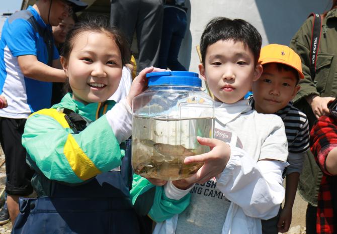 이틀에 걸쳐 100여 마리가 넘는 민물고기를 잡고 관찰했다. 각자 잡은 민물고기는 관찰 후 물로 돌려보냈다. - 어린이과학동아 제공
