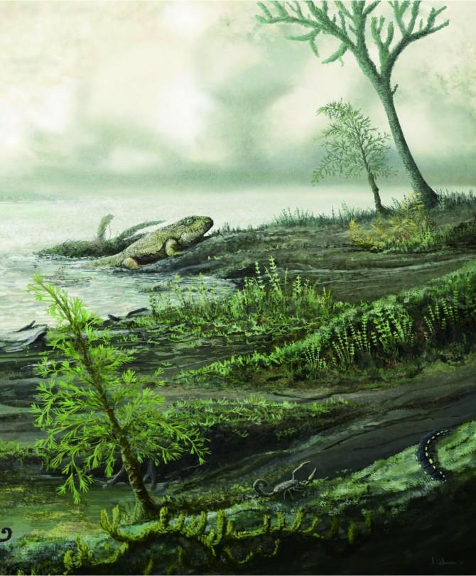 3억3500만 년 전 생물들의 모습이다. 지금의 병원균 조상들이 초기 육지 동물의 장에서 살았을 것으로 추정된다. - Mark witton 제공