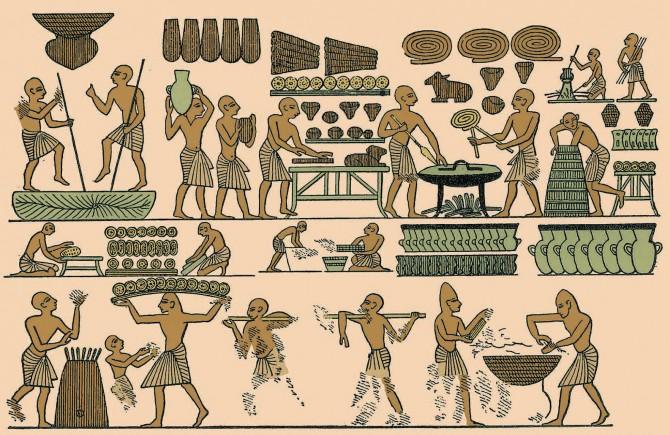 고대 이집트 제20왕조의 파라오인 람세스 3세의 묘에서 나온 벽화. 당시 빵을 만들던 과정이 상세하게 그려져 있다. 위아래 그림은 각각 이승과 저승을 뜻한다. 사후세계에 갈 때도 빵을 중요하게 생각했음을 알 수 있다. - 위키미디어, 과학동아 제공