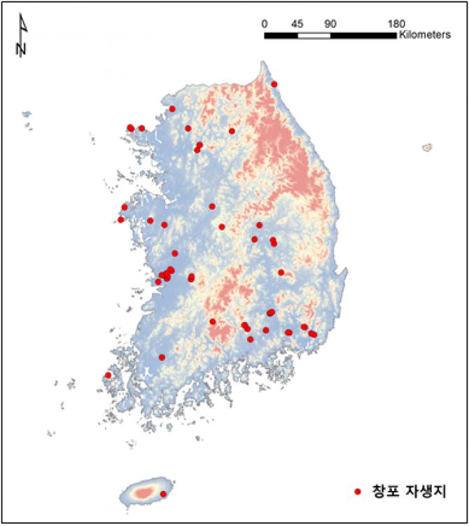 빨간 점이 창포의 자생지로 비교적 저지대 다양한 지역에서 발견된다 - 국립수목원 제공