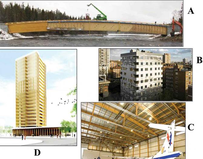 최근 유럽과 북미에서는 목재를 이용해 거대한 구조물을 짓는 게 유행이다. A는 캐나다 퀘벡에 있는 목조 다리이고 B는 영국 런던에 있는 머리그루브타워다. C는 캐나다 몬트리올에 있는 항공기격납고이고 D는 캐나다 밴쿠버에 지어질 20층 높이 건물의 조감도다. - 지속가능한 임학 저널 제공