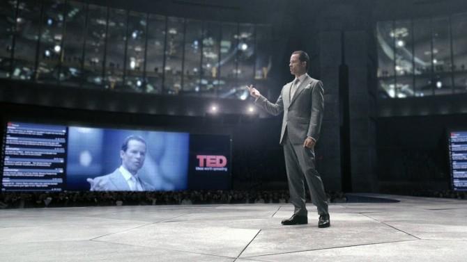 2023년 TED에서 인간이 신이 되었음을 선언하는 피터 웨이랜드의 모습