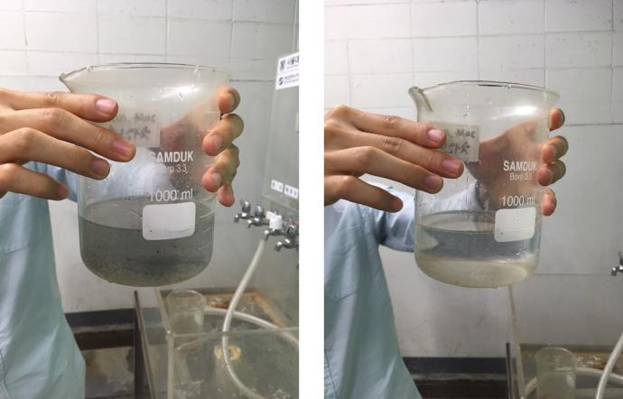 샤워용수로 사용한 물(왼쪽)을 간단한 정수 과정을 거쳐 냄새와 부유물을 제거하면(오른쪽) 변기 오물을 해결하는 용도로 사용할 수 있다. - 오가희 기자 solea@donga.com 제공