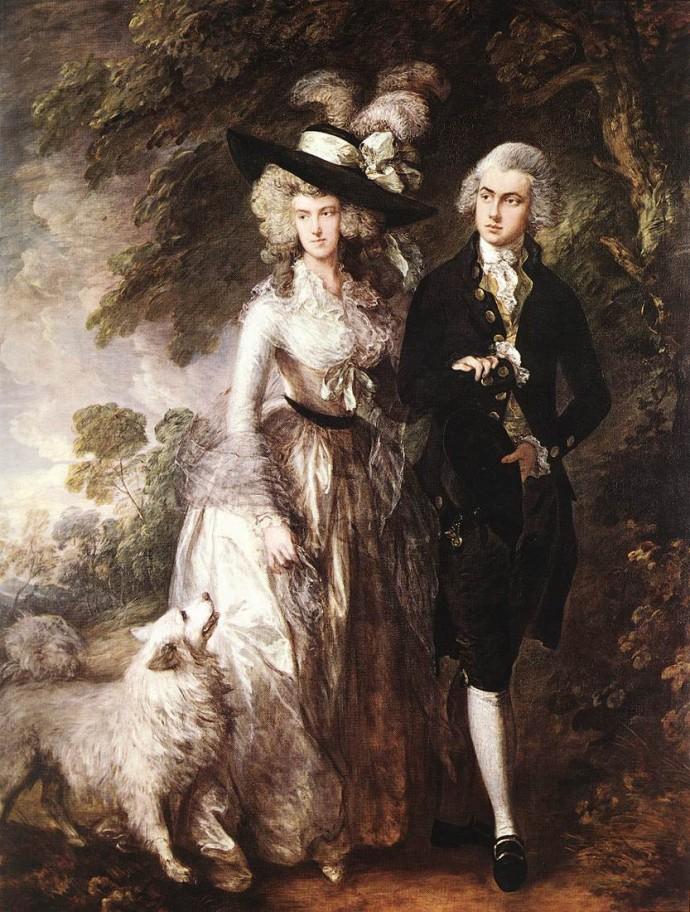 1785년에 그려진 그림에서 보이는 포메라니안. 아무리 잘 봐줘도 소형견으로 보이지는 않는다.