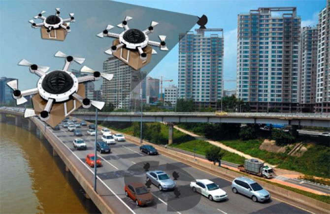 2030년에는 땅 위의 자율주행차들은 장착된 레이더로 주변 상황을 파악해 사람을 목적지로 안내하고, 하늘을 나는 택배 드론은 건물 옥상 등에 설치한 저고도 소형 레이더로 관리될 것으로 예상된다. GIB 제공 - 동아일보 DB 제공