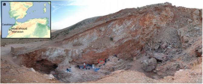 30만 년 전 호모 사피엔스의 화석이 발굴된 모로코 제벨 이르후드의 발굴 현장. 북서아프리카에서 가장 오래된 화석이 발견되면서 현생인류의 동아프리카 기원설이 타격을 입었다. - 네이처 제공