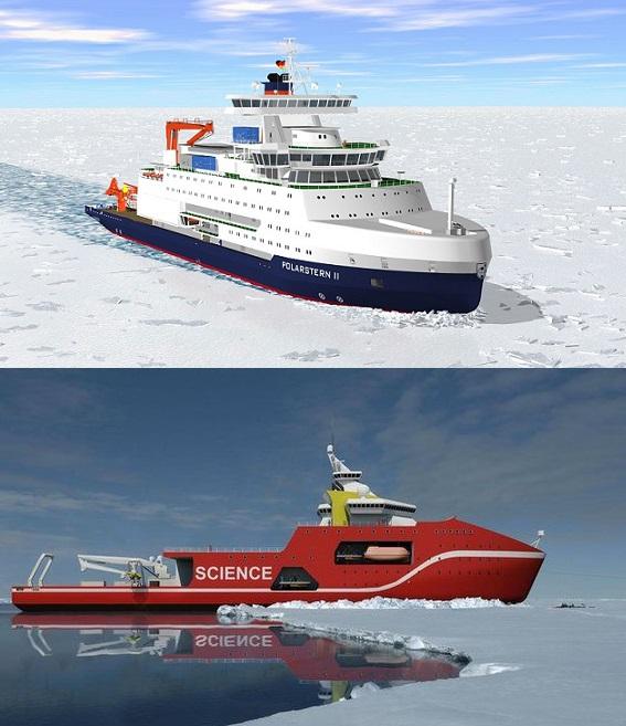 독일이 건조 중인 2만7000t급 연구용 쇄빙선 '폴라르슈테른 2'(위)는 3m 이상 두께의 얼음층을 깰 수 있다. 영국이 2019년 취항을 목표로 건조 중인 'D. 애튼버러경 호'(아래)는 2m 두께까지 얼음을 깰 수 있다.