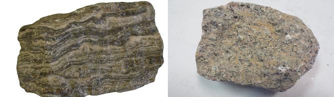 변성암의 일종인 편마암(왼쪽)과 화성암의 일종인 화강암. 두 암석을 포함한 변성암과 화성암이 한국 지반을 이루는 암석의 90%를 차지한다. - 위키피디아 제공