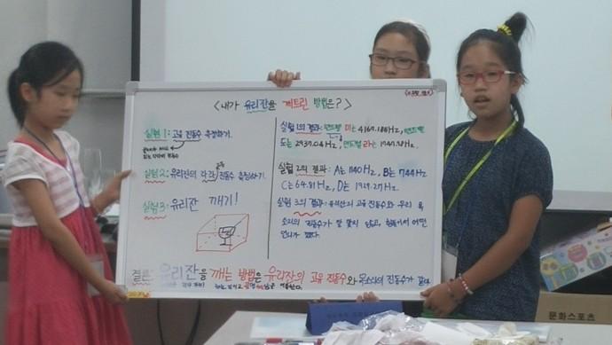 스스로 과학탐구 과정의 한 주제인 '유리잔 미션임파서블'을 발표하는 어린이들. - 국립과천과학관 제공