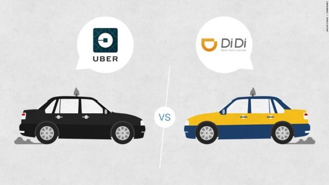 주요 시장은 다르지만 기업가치를 기준으로 경쟁을 하고 있는 우버와 디디추싱