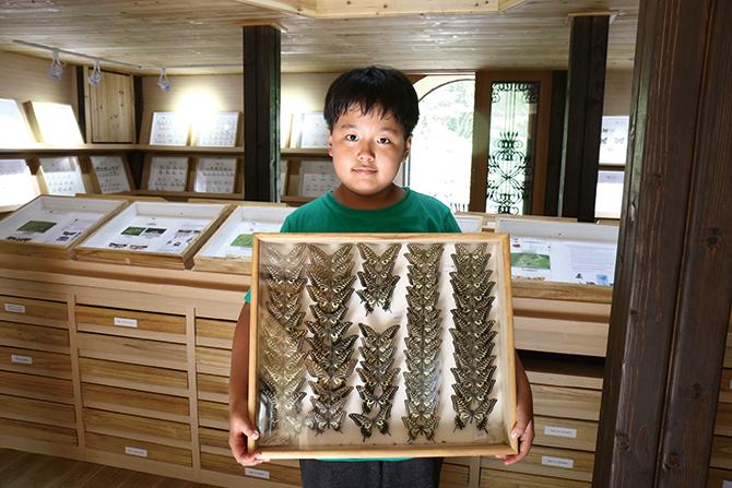 나비 표본을 들고 있는 이준이 학생. - 김정 기자 제공