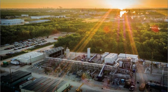 미국 텍사스 휴스턴 근교에 짓고 있는 초임계유체 이산화탄소 터빈으로 작동하는 천연가스 데모 플랜트의 모습이다. 올해 가을 완공돼 가동에 들어갈 계획이다. - CB&I 제공