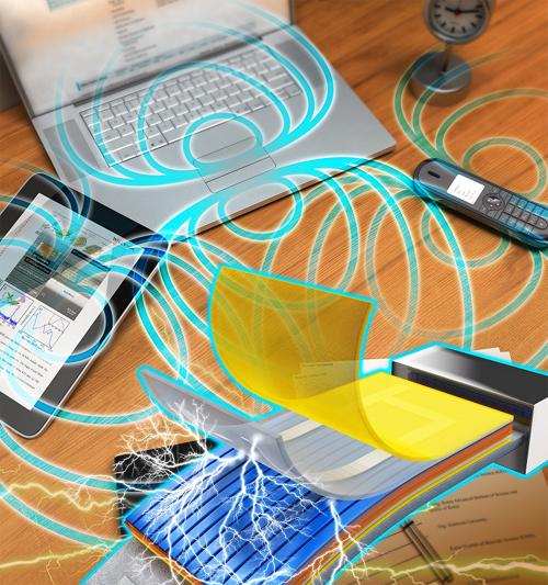 일상 생활에서 사용하는 전자기기에서는 자기장이 발생한다. 에너지 하베스팅 기술을 이용하면 자기장으로 작은 센서에 필요한 전기를 만들 수 있다. - 재료연구소 제공