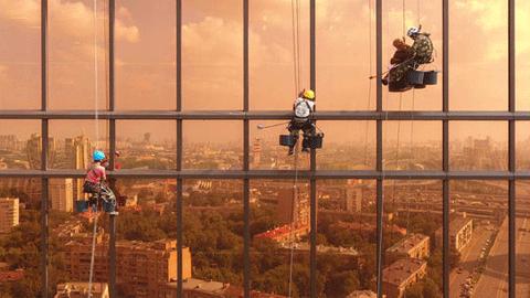 모스크바, 빌딩에 반사된 도시 풍경