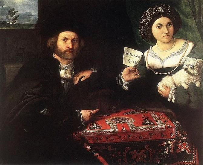 16세기 이탈리아 화가 로렌조 로또의 작품, '남편과 아내'. 여성이 들고 있는 강아지는 정절을 의미하며, 남자의 어깨에 올린 팔은 친밀감을 뜻한다. 남자가 들고 있는 종이에는 'Homo Nunquam(더 이상 남자가 아니다)'라고 적혀 있는데, 그 뜻에 대해서는 논란이 분분하다. - Lorenzo Lotto 제공