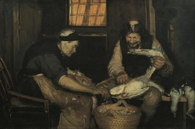 갈매기의 털을 뽑는 오래된 부부(Old couple plucking gulls). 혼인 관계의 네번째 약속은 '혼인이 지속된다는 믿음'이다. - Anna Ancher 제공