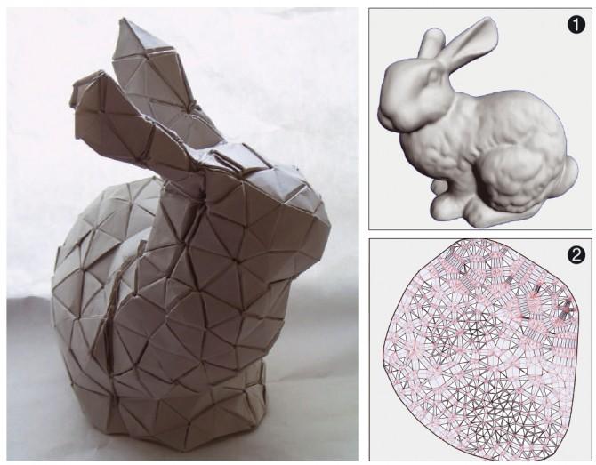 연구팀은 개발한 알고리즘을 이용해 ❶번 그림을 ❷번 도면으로 나타냈다. 이후, 타치 교수가 8시간 동안 정성스레 종이를 접어 ❶번 그림과 닮은 토끼를 만들었다. - Erik Demaine 제공
