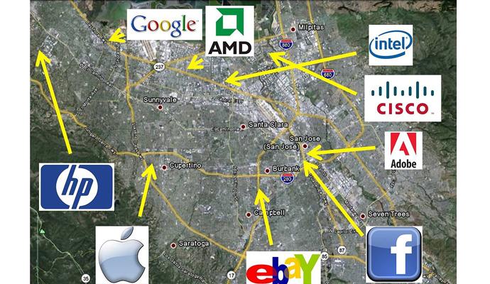 미국 샌프란시스코 실리콘밸리에는 구글, 애플, 페이스북과 같은 전 세계적으로 유명한 여러 기업의 본사가 모여 있다. - 위키피디아 제공