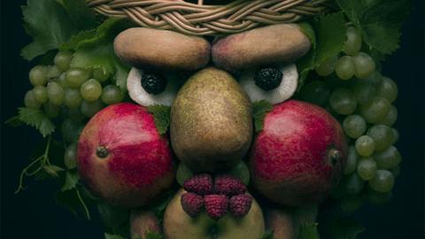수박, 참외, 사과, 바나나로 만든 '과일 초상화'