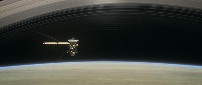 토성 탐사선 카시니호가 토성을 향해 마지막 근접궤도 접근을 시도하고 있는 모습을 나타낸 가상 이미지. - 미국항공우주국 제공