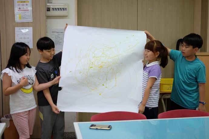 학생들은 조별로 저마다의 작품을 완성하고, 작품에 대해 친구들 앞에서 소개하고 설명했다. - 염지현 제공