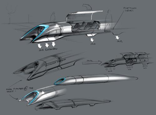 일론 머스크가 공개한 초기 하이퍼루프의 컨셉 디자인