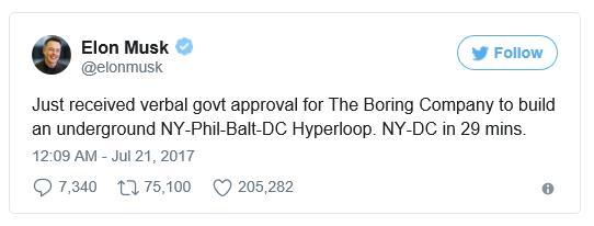 뉴욕부터 워싱턴 DC까지의 하이퍼루프 개발에 대한 허가를 받았다는 일론 머스크의 트윗