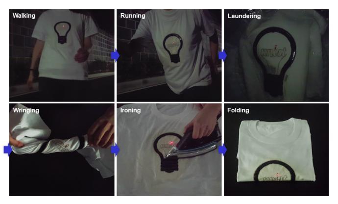 티셔츠에 그려진 전구 모양 그림이 배터리다. 이 배터리는 한 번 충전으로 최대 20분 동안 LED를 켤 수 있다. - 이상영 교수 제공