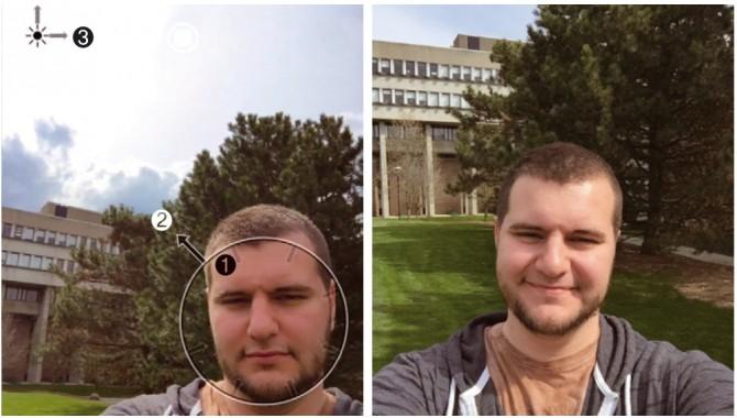 앱을 켜고 카메라로 얼굴을 감지하면 원이 나타난다. 원 안쪽 방향을 가리키는 화살표(①)가 얼굴 크기를 키워야 할지 줄여야 할지 알려주고, 원 바깥쪽 화살표(②)가 얼굴의 위치를, 화면 왼쪽 상단 태양 그림과 함께 있는 화살표(③)가 광원의 위치를 어디로 옮겨야 할지 가르쳐 준다. - ⓒDaniel Vogel 제공