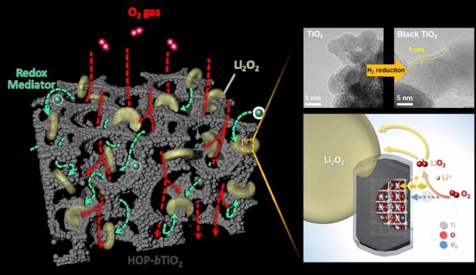 다공성 티타늄 산화물 전극에서의 리튬 산화물 생성 기작 모식도 - 서울대 제공