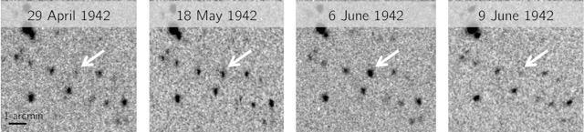 1942년 일어난 격변변광성의 왜소 신성 폭발 장면이다. 4월 29일에서 5월 18일, 6월 6일까지는 점점 밝아지다가 6월 9일에는 다시 어두워졌다. - 네이처 제공