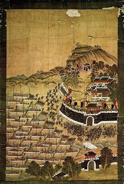 부산진 순절도(釜山鎭殉節圖), 대한민국 보물 제391호. 1592년 4월 13일(음력) 700척의 배와 18700명의 왜군은 부산진을 완전히 포위했고, 부산진을 지키던 1000여명의 군사는 모두 전사했다. 임진왜란의 첫 전투였다. 그러나 조정은 당시에도 둘로 나뉘어, 왜의 침략 가능성에 대한 무의미한 논쟁을 계속했다. - 변박 제공