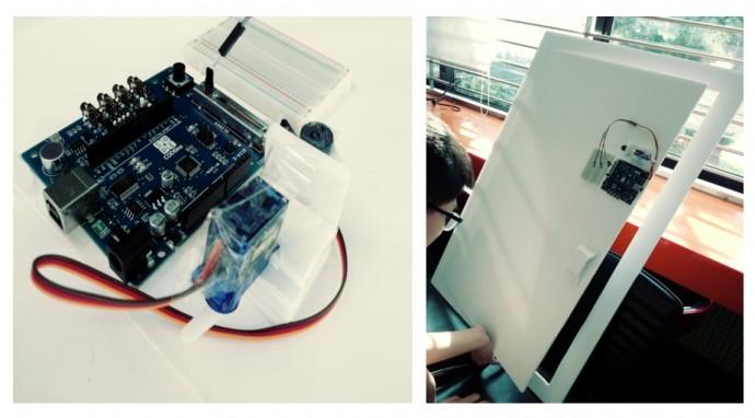 학생들이 자신의 아이디어를 프로토타입으로 만들어 본 '타이머식 도어락'의 모습. - 서성원 제공