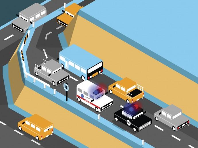 구급차가 어느 차선으로 달리고 있는지 미리 알 수 있다면, 어떨까? - GIB 제공