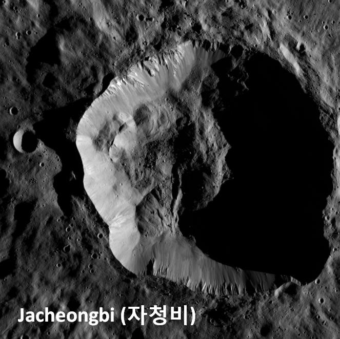 자청비 크레이터는 왜행성 세레스의 남위 69.2도 동경 2.3도 지점에 있다. 세레스에는 수천 개의 크레이터가 있지만, 자청비는 지름이 31km로 크고 주변에 특이한 암석이 있어 행성 과학자들이 주목하고 있다. - 스테판 슈뢰더(DLR) 제공