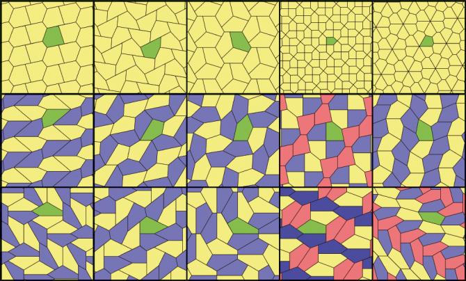 볼록 오각형으로 테셀레이션 하는 방법은 오직 15가지뿐이다. - Tomruen(w) 제공